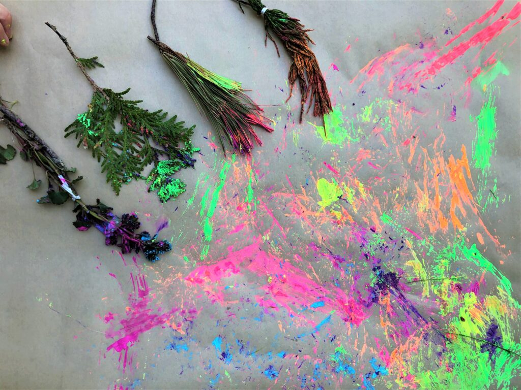 painting made from nature paintbrushes